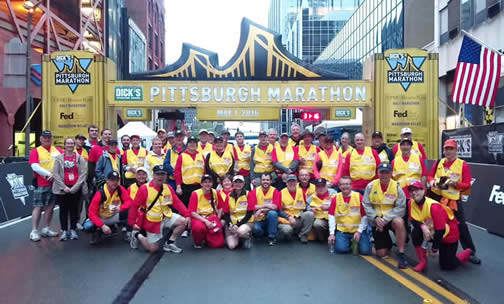 50 ski patrollers from the Western Appalachian Region volunteered at the 2016 Pittsburgh Marathon as members of the Rapid Response Team